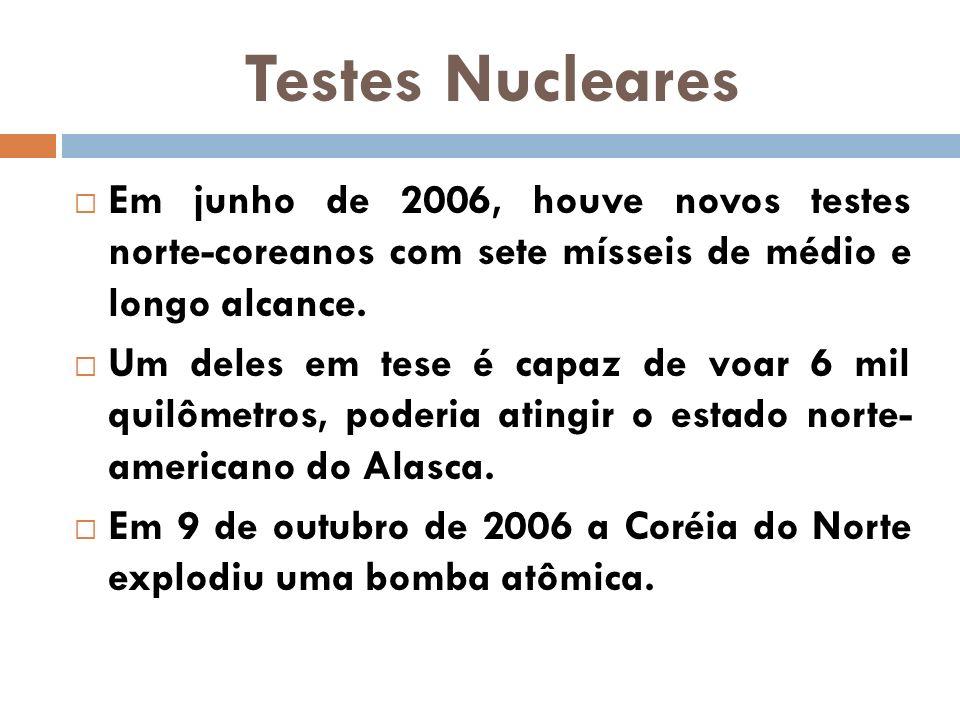 Testes Nucleares Em junho de 2006, houve novos testes norte-coreanos com sete mísseis de médio e longo alcance.