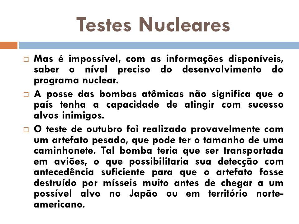 Testes Nucleares Mas é impossível, com as informações disponíveis, saber o nível preciso do desenvolvimento do programa nuclear.