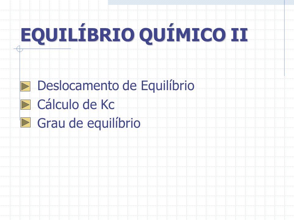 EQUILÍBRIO QUÍMICO II Deslocamento de Equilíbrio Cálculo de Kc