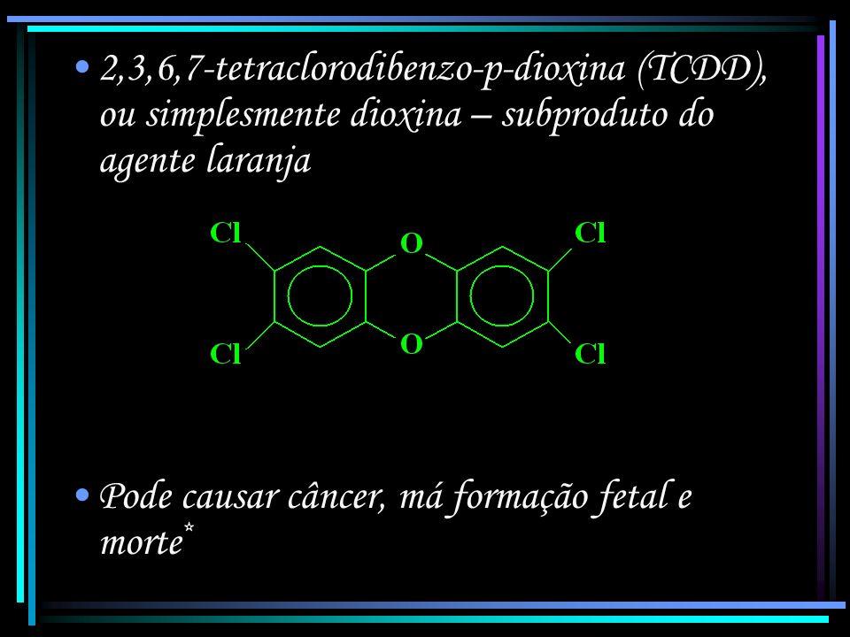 2,3,6,7-tetraclorodibenzo-p-dioxina (TCDD), ou simplesmente dioxina – subproduto do agente laranja