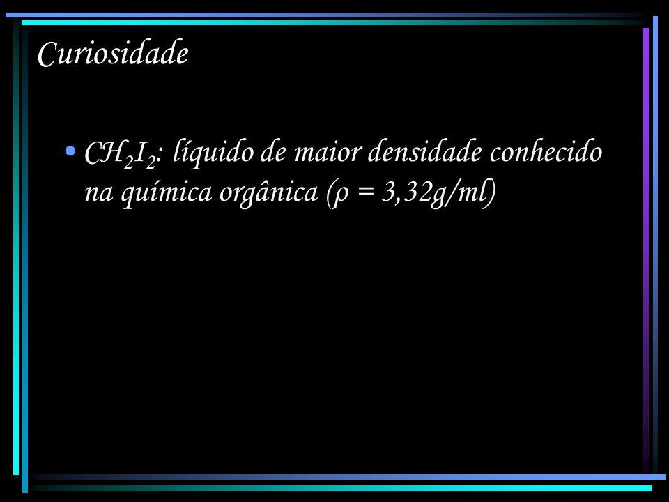 Curiosidade CH2I2: líquido de maior densidade conhecido na química orgânica (ρ = 3,32g/ml)