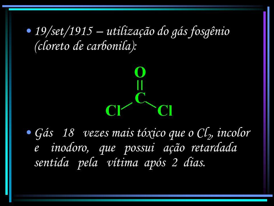 19/set/1915 – utilização do gás fosgênio (cloreto de carbonila):