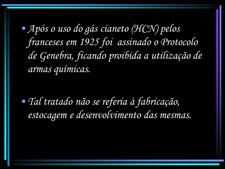 Após o uso do gás cianeto (HCN) pelos franceses em 1925 foi assinado o Protocolo de Genebra, ficando proibida a utilização de armas químicas.