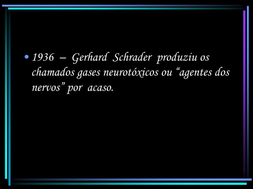 1936 – Gerhard Schrader produziu os chamados gases neurotóxicos ou agentes dos nervos por acaso.