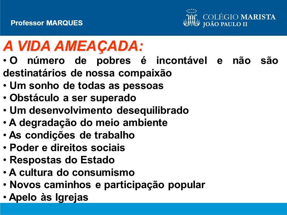 Professor MARQUES A VIDA AMEAÇADA: O número de pobres é incontável e não são destinatários de nossa compaixão.