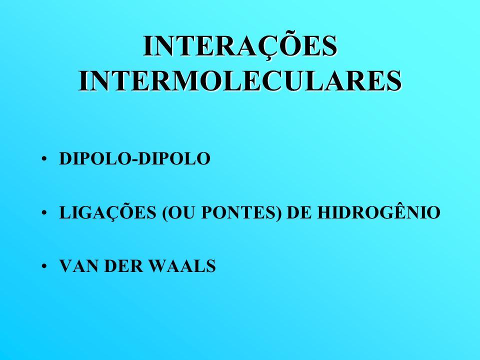 INTERAÇÕES INTERMOLECULARES