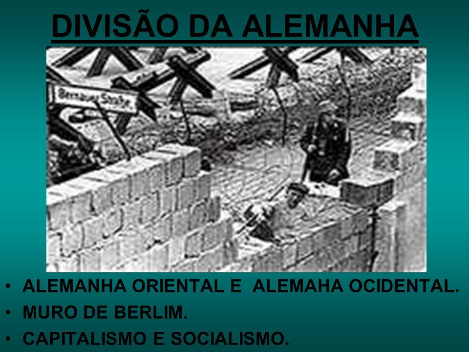 DIVISÃO DA ALEMANHA ALEMANHA ORIENTAL E ALEMAHA OCIDENTAL.