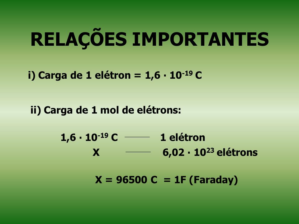 RELAÇÕES IMPORTANTES i) Carga de 1 elétron = 1,6 ∙ 10-19 C