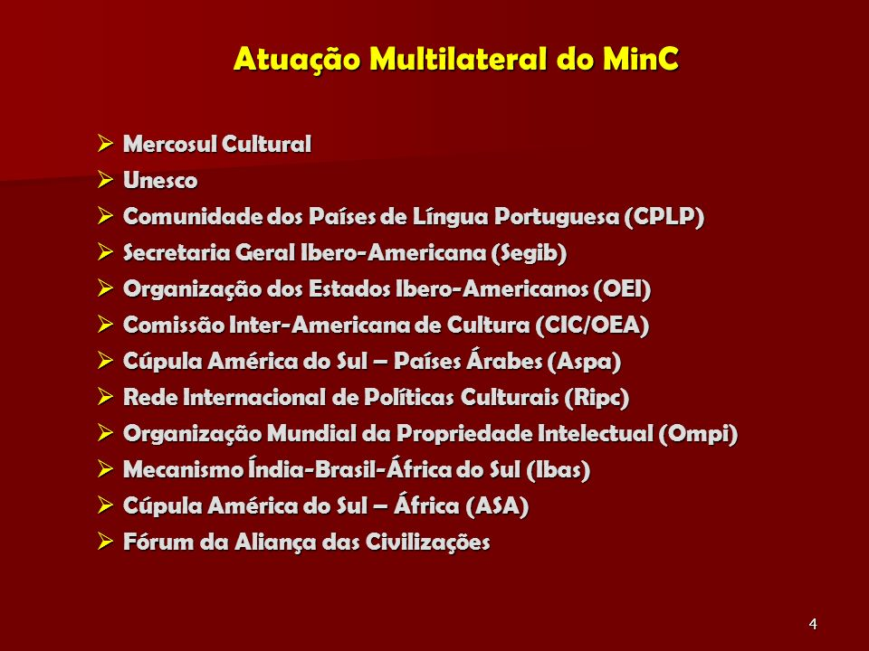Atuação Multilateral do MinC