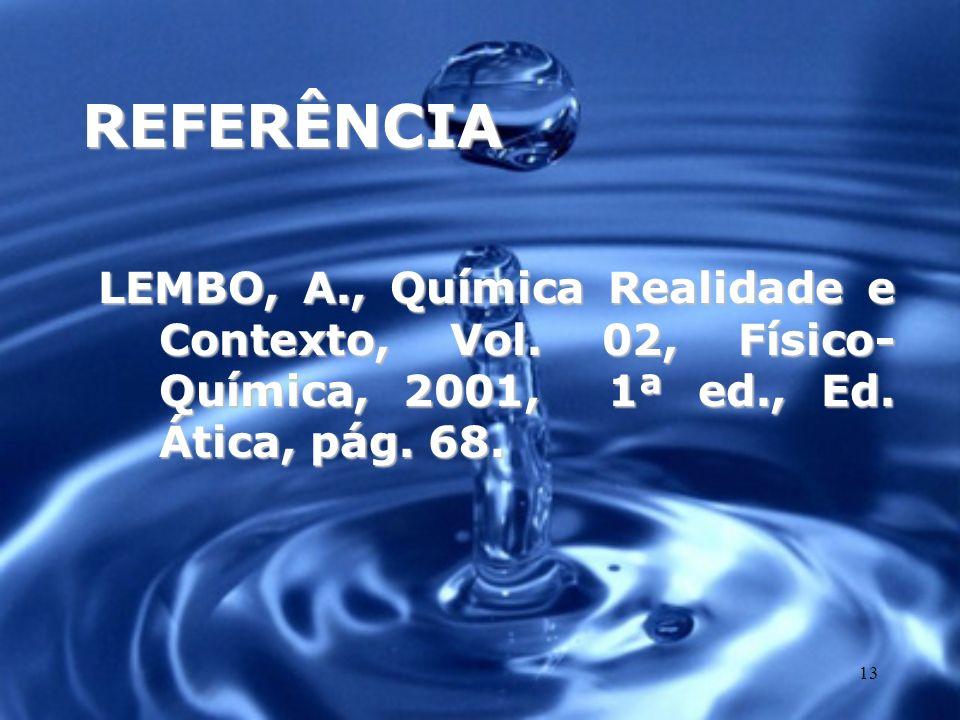 REFERÊNCIA LEMBO, A., Química Realidade e Contexto, Vol.