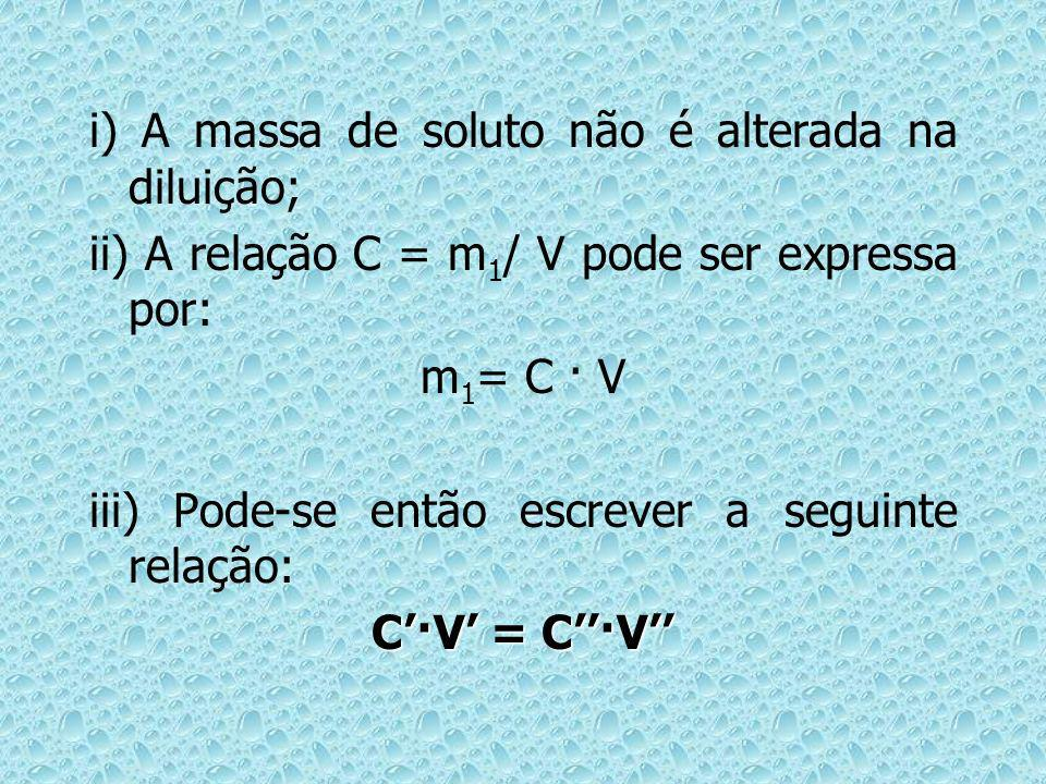 i) A massa de soluto não é alterada na diluição;