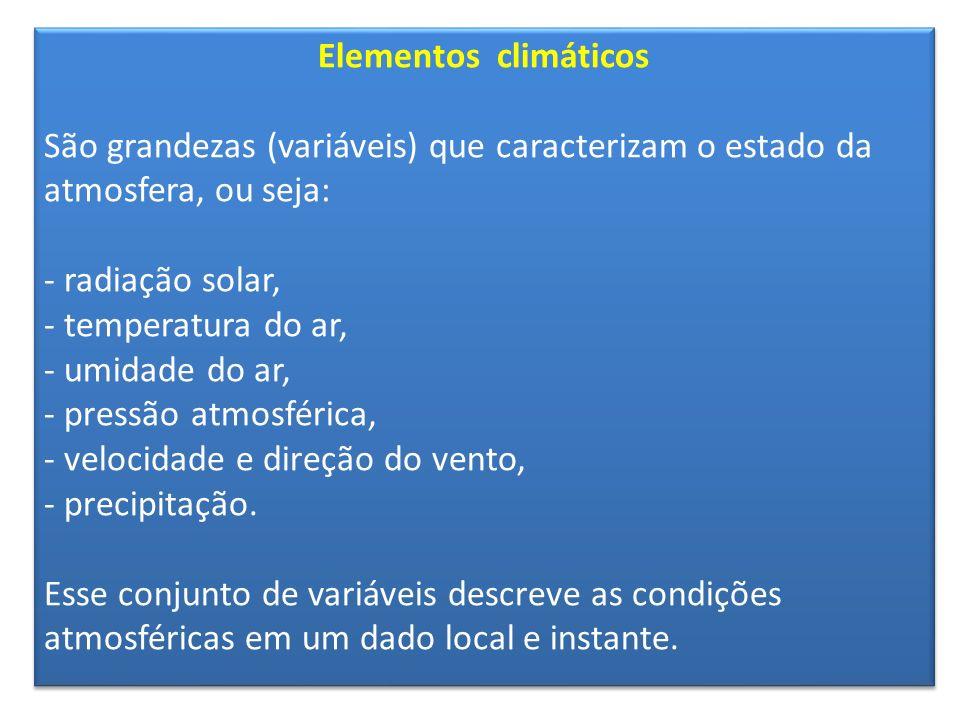 Elementos climáticos São grandezas (variáveis) que caracterizam o estado da atmosfera, ou seja: radiação solar,