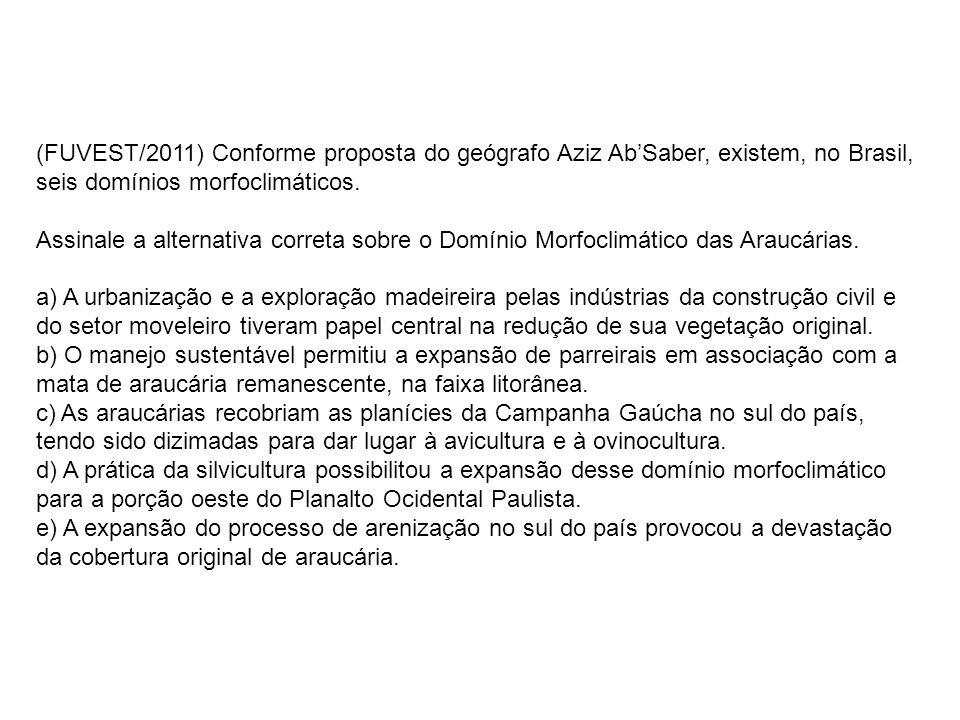 (FUVEST/2011) Conforme proposta do geógrafo Aziz Ab'Saber, existem, no Brasil, seis domínios morfoclimáticos.