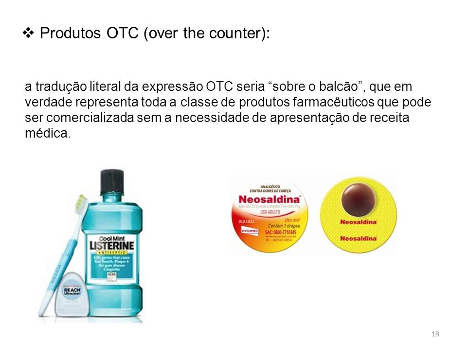 Produtos OTC (over the counter):