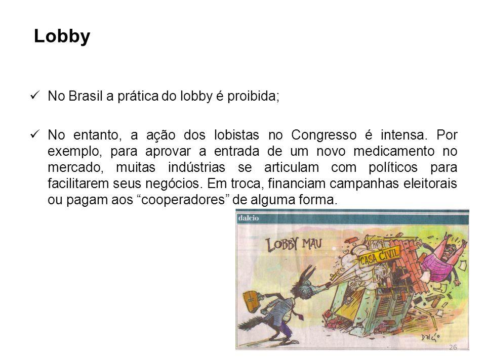 Lobby No Brasil a prática do lobby é proibida;