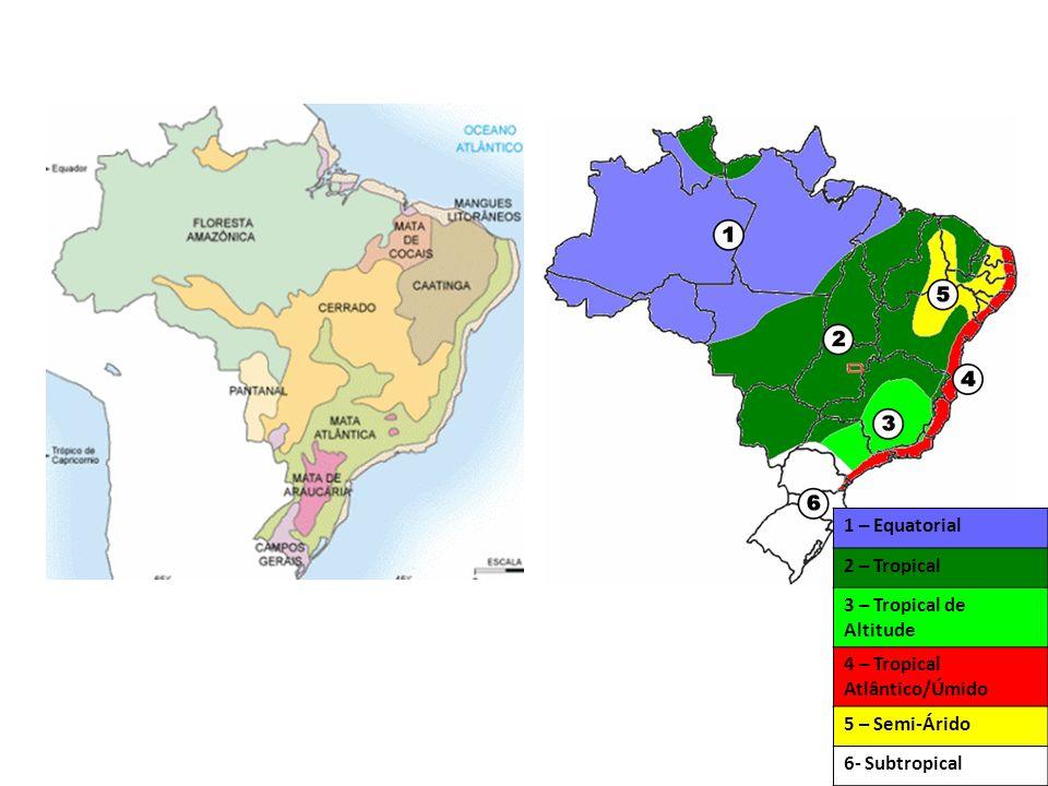 1 – Equatorial 2 – Tropical. 3 – Tropical de Altitude. 4 – Tropical Atlântico/Úmido. 5 – Semi-Árido.