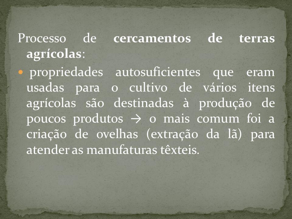 Processo de cercamentos de terras agrícolas: