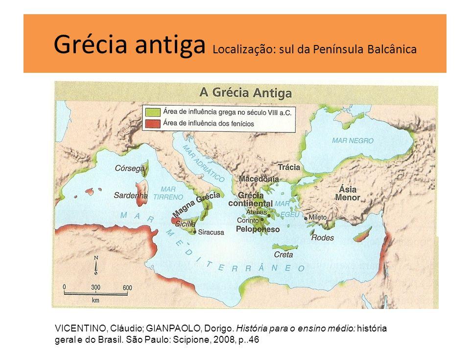Grécia antiga Localização: sul da Península Balcânica