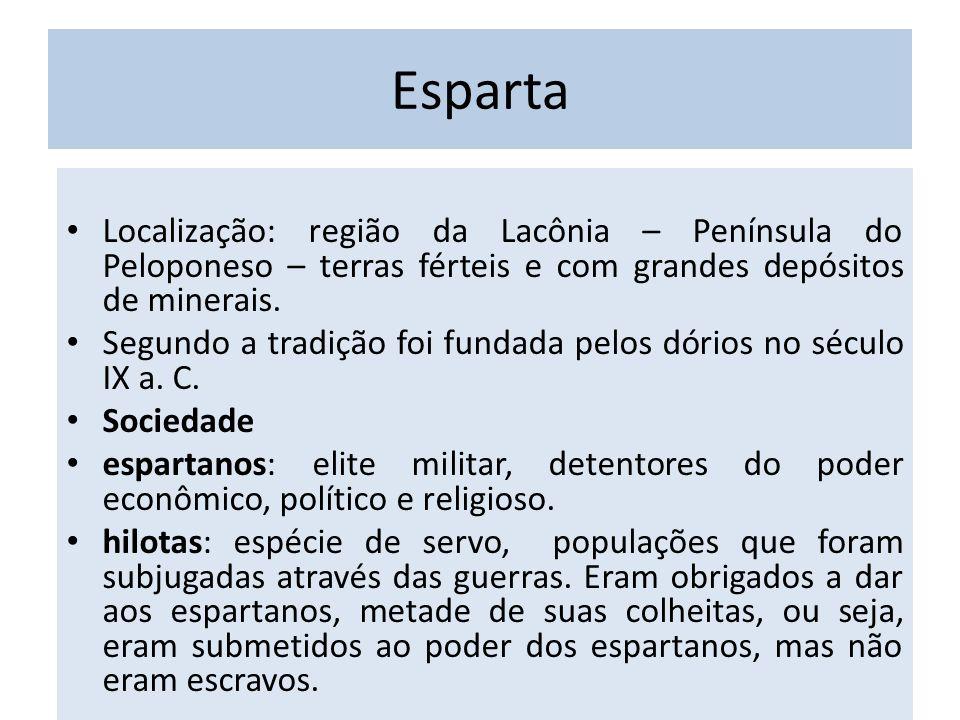 Esparta Localização: região da Lacônia – Península do Peloponeso – terras férteis e com grandes depósitos de minerais.
