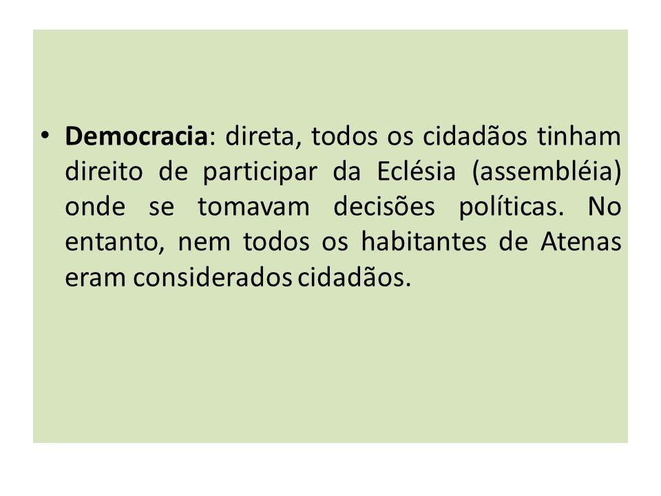 Democracia: direta, todos os cidadãos tinham direito de participar da Eclésia (assembléia) onde se tomavam decisões políticas.