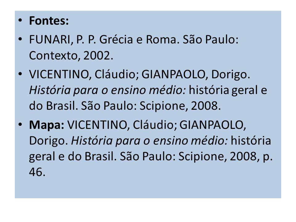 Fontes:FUNARI, P. P. Grécia e Roma. São Paulo: Contexto, 2002.