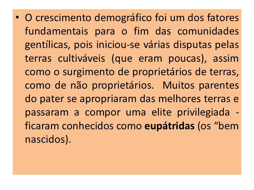O crescimento demográfico foi um dos fatores fundamentais para o fim das comunidades gentílicas, pois iniciou-se várias disputas pelas terras cultiváveis (que eram poucas), assim como o surgimento de proprietários de terras, como de não proprietários.