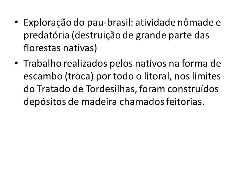 Exploração do pau-brasil: atividade nômade e predatória (destruição de grande parte das florestas nativas)