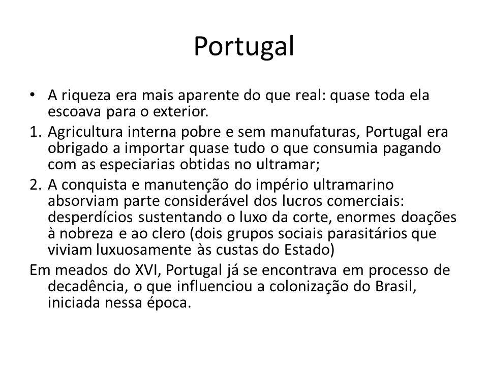 Portugal A riqueza era mais aparente do que real: quase toda ela escoava para o exterior.