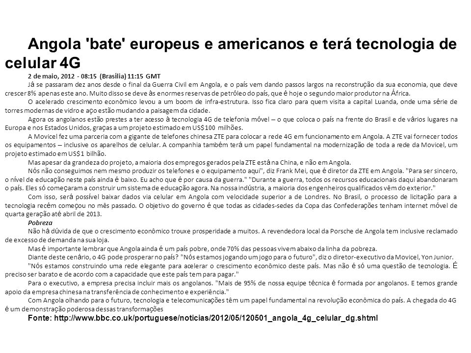 Angola bate europeus e americanos e terá tecnologia de celular 4G