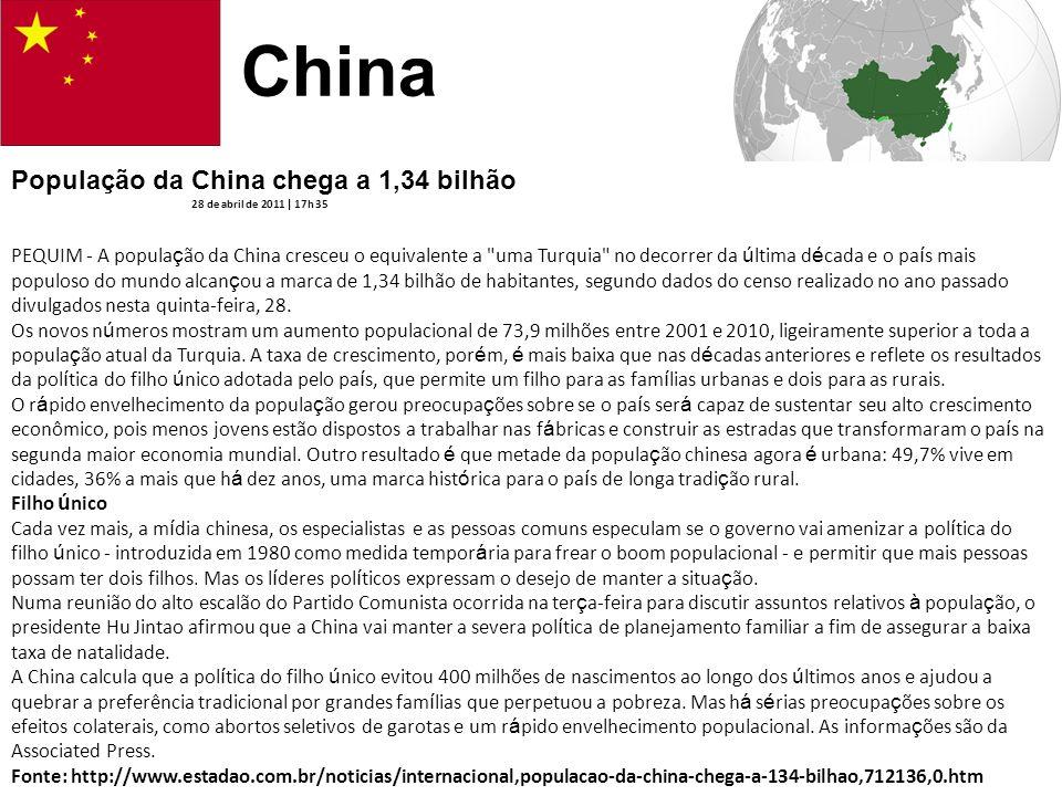 China População da China chega a 1,34 bilhão