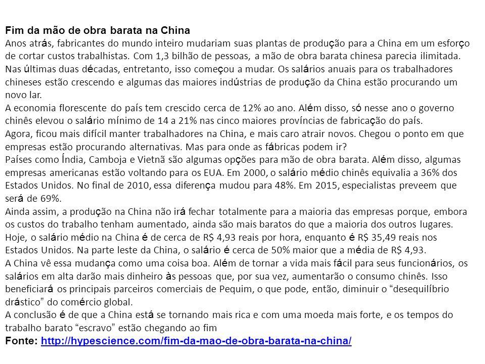 Fim da mão de obra barata na China