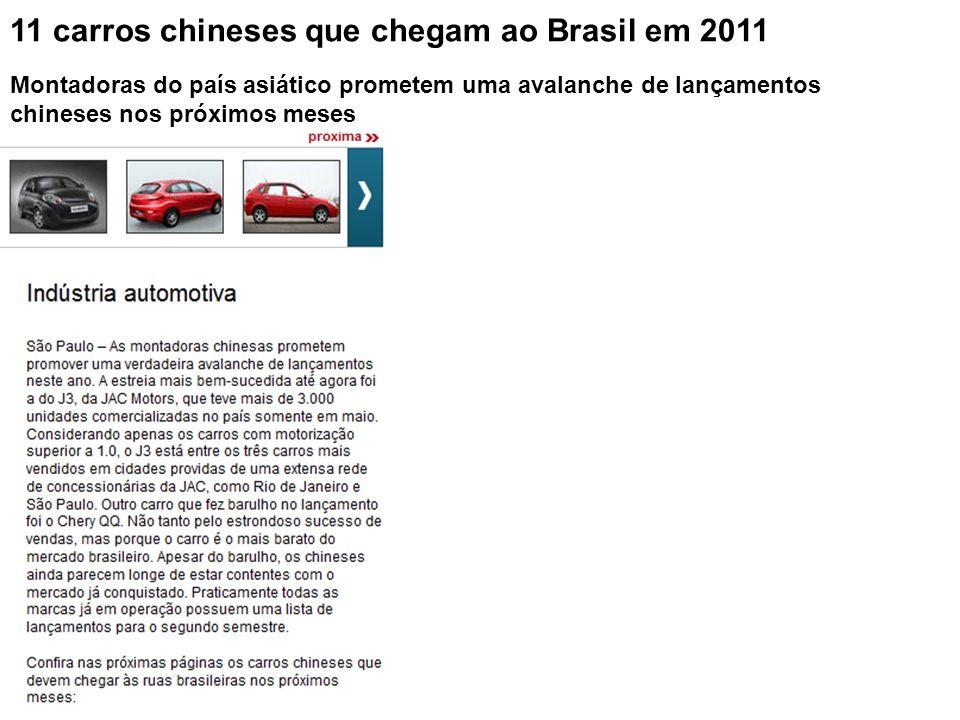 11 carros chineses que chegam ao Brasil em 2011