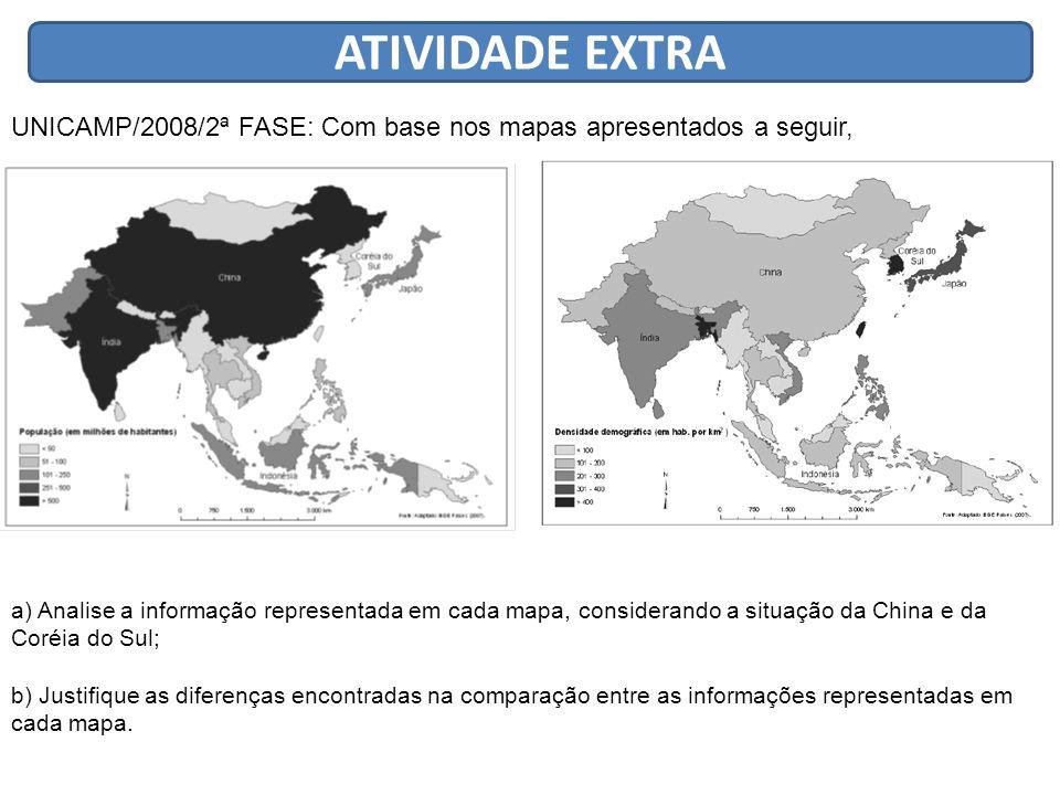 ATIVIDADE EXTRA UNICAMP/2008/2ª FASE: Com base nos mapas apresentados a seguir,