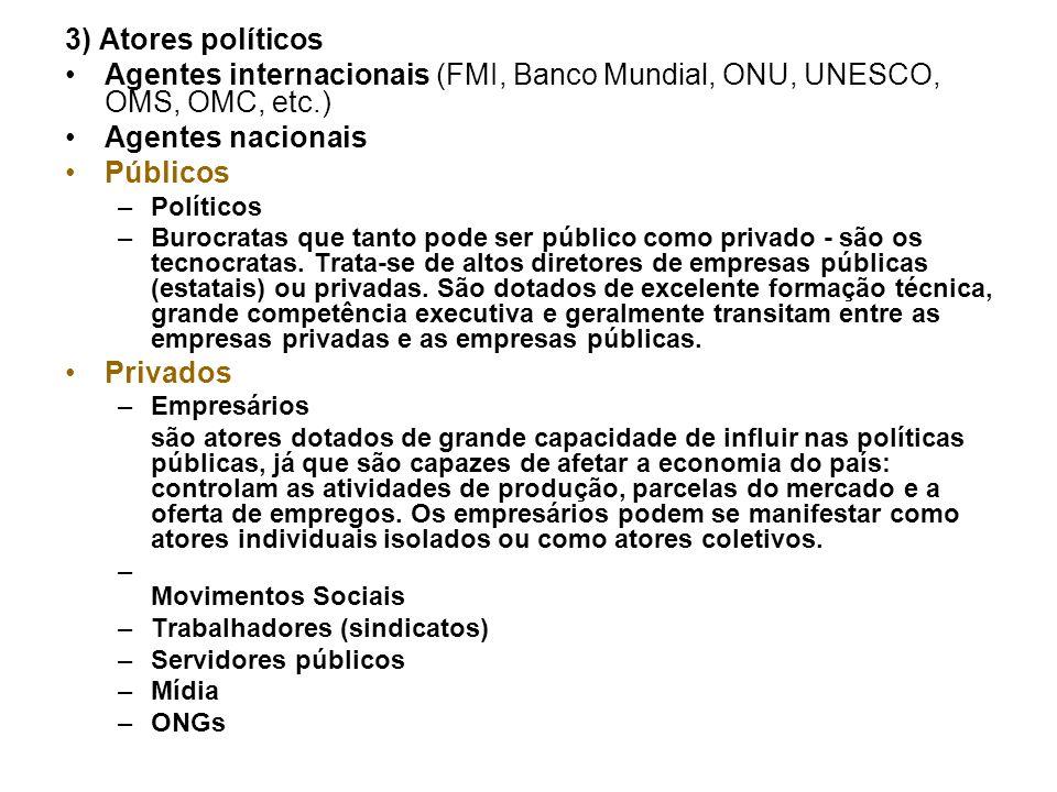3) Atores políticos Agentes internacionais (FMI, Banco Mundial, ONU, UNESCO, OMS, OMC, etc.) Agentes nacionais.