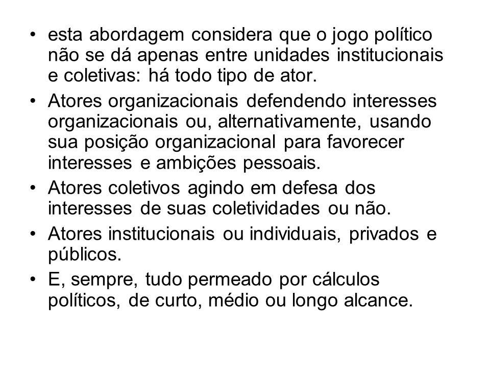 esta abordagem considera que o jogo político não se dá apenas entre unidades institucionais e coletivas: há todo tipo de ator.