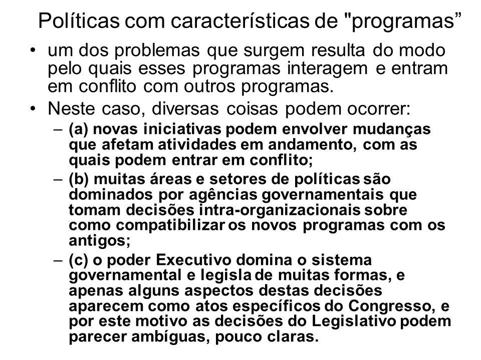 Políticas com características de programas