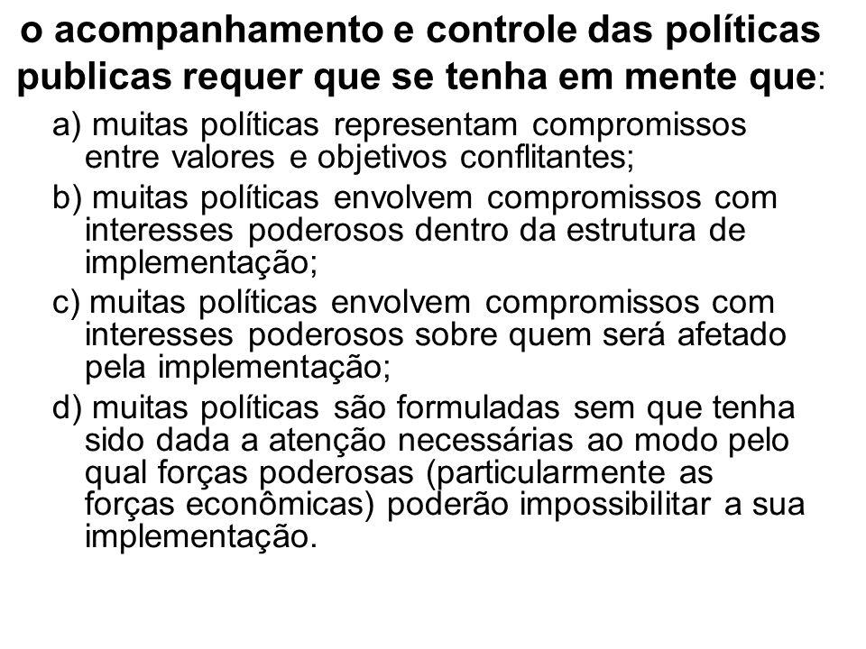 o acompanhamento e controle das políticas publicas requer que se tenha em mente que: