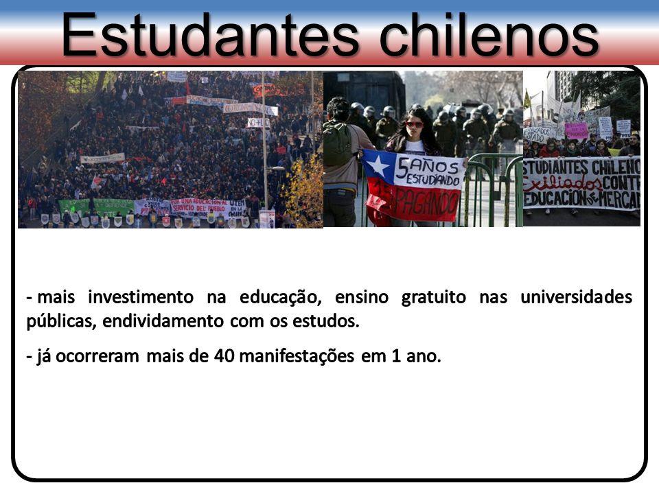 Estudantes chilenosmais investimento na educação, ensino gratuito nas universidades públicas, endividamento com os estudos.
