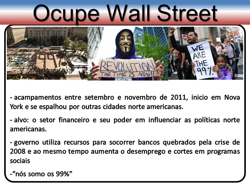 Ocupe Wall Street acampamentos entre setembro e novembro de 2011, inicio em Nova York e se espalhou por outras cidades norte americanas.