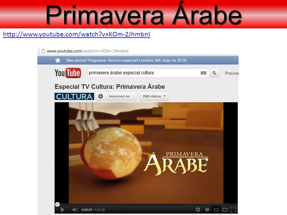 Primavera Árabe http://www.youtube.com/watch v=KOm-2JhmbnI