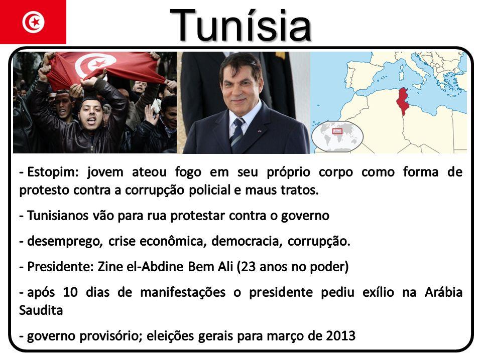 TunísiaEstopim: jovem ateou fogo em seu próprio corpo como forma de protesto contra a corrupção policial e maus tratos.