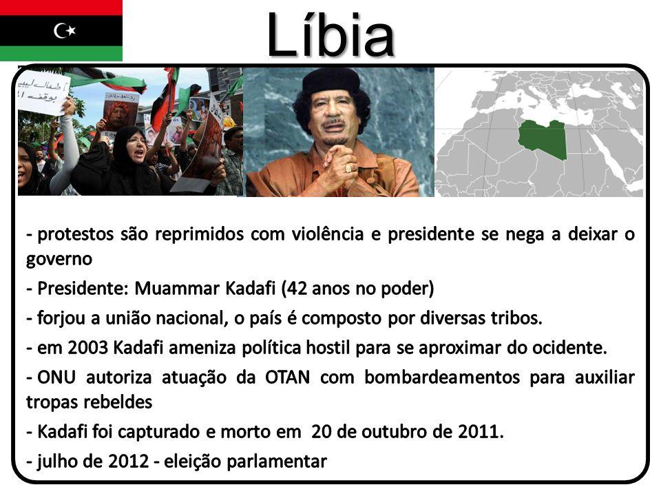 Líbia protestos são reprimidos com violência e presidente se nega a deixar o governo. Presidente: Muammar Kadafi (42 anos no poder)