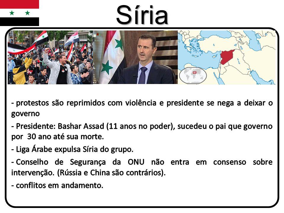 Síriaprotestos são reprimidos com violência e presidente se nega a deixar o governo.