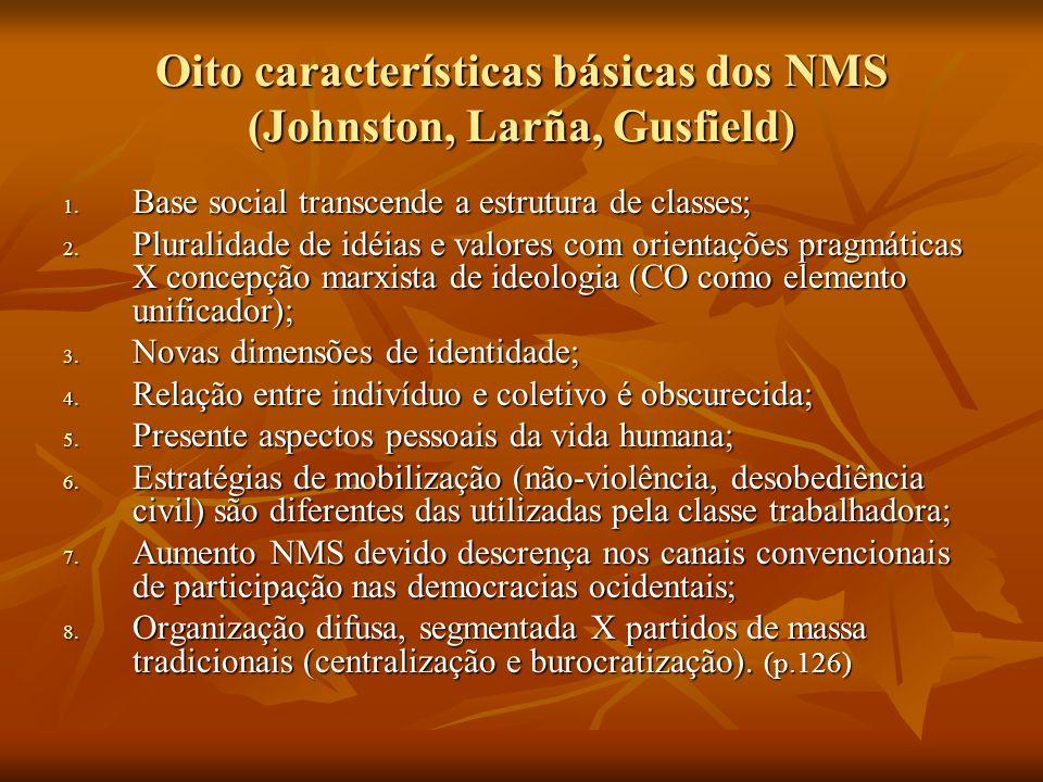 Oito características básicas dos NMS (Johnston, Larña, Gusfield)