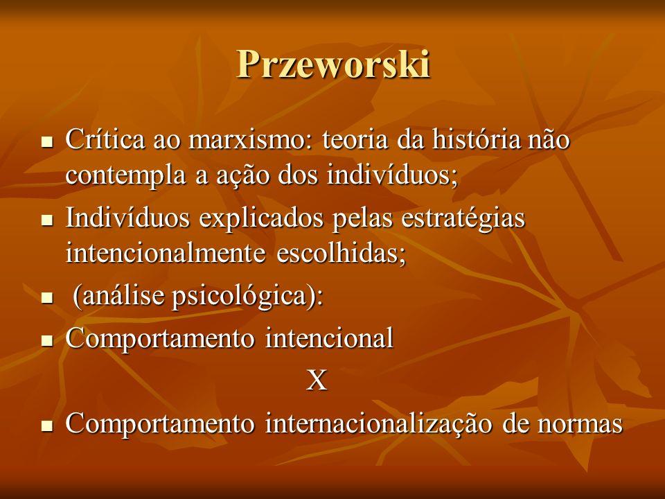 Przeworski Crítica ao marxismo: teoria da história não contempla a ação dos indivíduos;