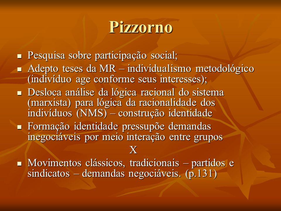 Pizzorno Pesquisa sobre participação social;