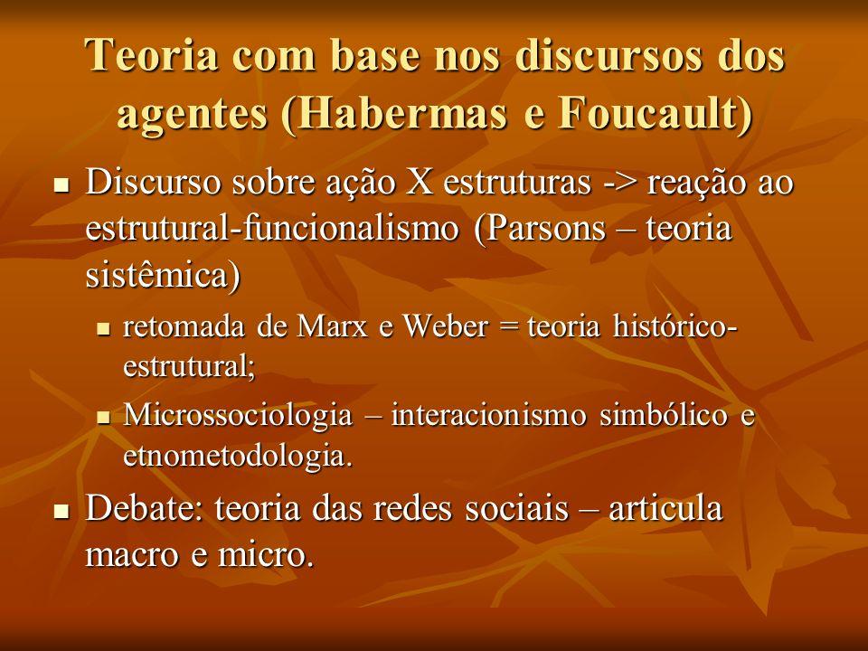Teoria com base nos discursos dos agentes (Habermas e Foucault)