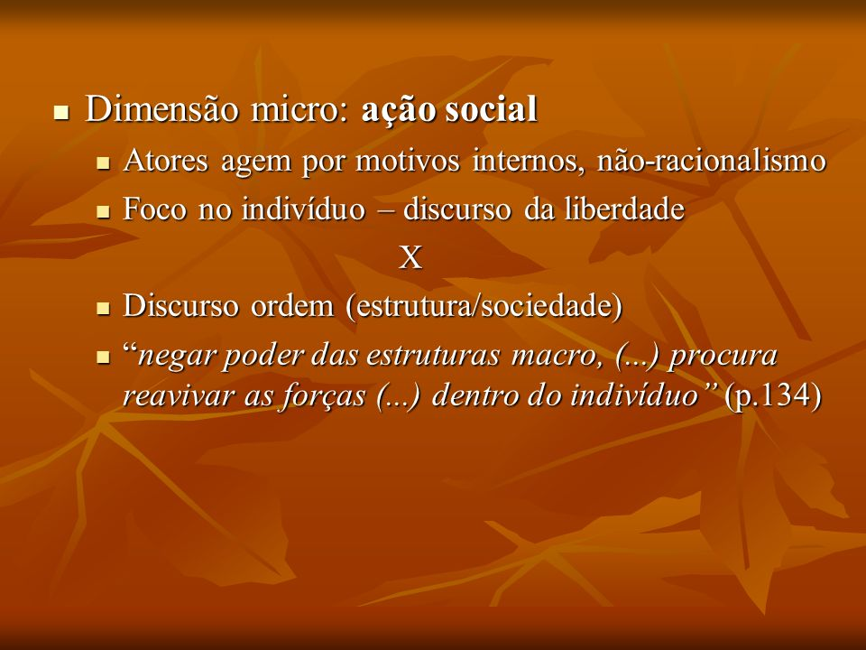 Dimensão micro: ação social