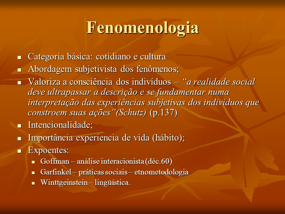 Fenomenologia Categoria básica: cotidiano e cultura