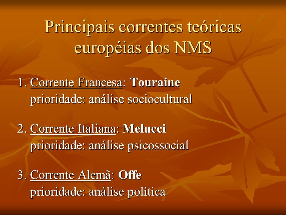 Principais correntes teóricas européias dos NMS